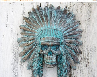 ON SALE Indian Chief~Indian Chief Wall Art~Bohemian~Tribal~Native American Decor~Patina