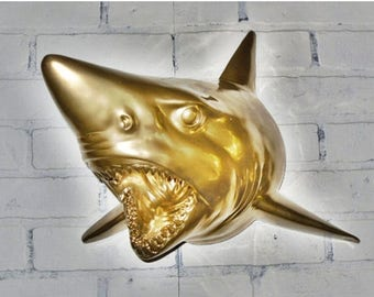 ON SALE Gold Shark Head /Beach Decor/ Beach House/ Pool House/ Summer Decor/ Shark Decor / Shark Wall Decor