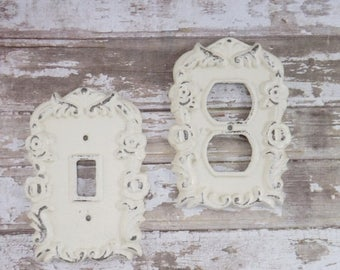 ON SALE CREAM / Light Outlet Cover / Outlet Cover Plate / Shabby Chic / Decorative Outlet Switch Plate Cover / Your Choice Color