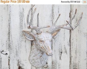 ON SALE Deer Head ~Deer Head Wall Mount /  White and Gold Deer Head / Faux Taxidermy / Deer Head Wall  Decor