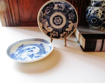 Two Vintage Chinoiserie Blue and White Pin Dishes, Chinese Aesthetic Trinket Dish, Blue and White Imari Style Dish, Oriental Decor