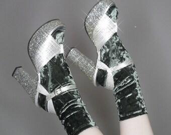 Vtg 60s 70s glitter metallic disco glam platform peep toe heels size 7.5