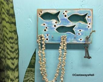 Key Jewelry Holder Hook Rack Fish Beach Lake House Art Block Wall Decor by CastawaysHall