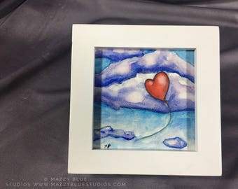 "Painting Original Watercolor Titled ""The Wind Carries My Love To You"" signed art heart balloon drifting through clouds"