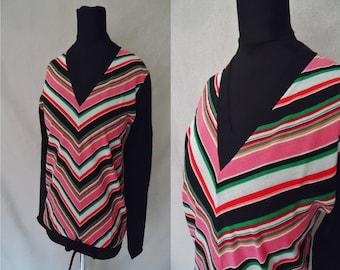 CHEVRON Striped Black Vintage 1960's NOS Women's V-Neck Shirt Top XS S
