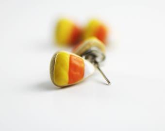 Food Earrings, Food Jewelry, Cookie Earrings, Candy Corn, Halloween Jewelry, Miniature Food Jewelry, Miniature Food, Stud Earrings