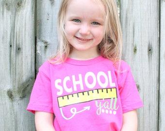 Back to School Shirt, School Y'all, Girls Back to School Shirt, Pink Back to School Shirt, School Shirt, Pink School Shirt