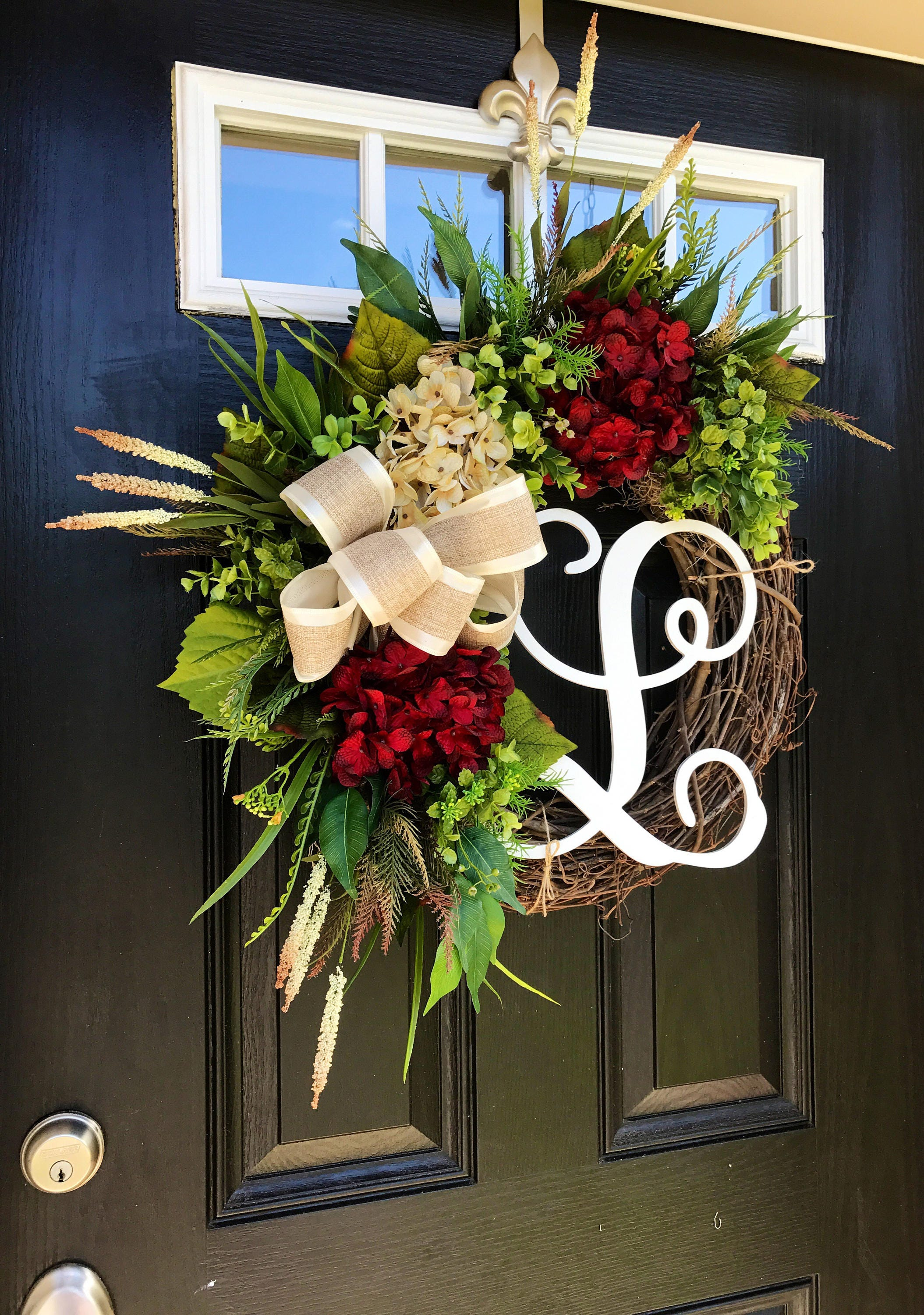Front Door Wreath, Farm House Wreath, Fall Front Door Wreath, Year Round  Wreath