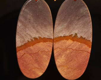 "2 Pieces 24x54x3mm ""The Hills are Alive/Earthy Beauty""~SUCCOR CREEK JASPER Light Weight Thin-Cut Elongated Oval Earring Pair Set - J1127"