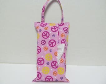 Hanging Tissue Box Cover For Skinny Kleenex/Pink Peace