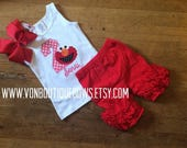 Red monster bow Personalized Boutique birthday 1st 2nd 3rd 4th 5th 6th 7th 8th Girls Applique Long Sleeve Shirt Tank icing shorts outfit