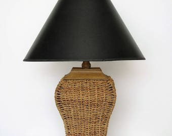 Vintage wicker lamp/woven natural table lamp/ boho decor/coastal