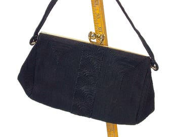 Vintage 1940s Tagged Genuine Corde' Black Gimp Clutch/Handbag/Purse, Brass Frame Purse with Kiss Clasp, Kadin Bag