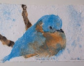 Bluebird No. 31 – pulp painting on handmade cotton / abaca paper (2018), Item No. 235.01