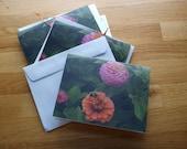 Zinnias and bee - Photo Notecard - Free Shipping