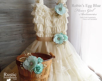 Robin's Egg Blue ~ Flower Girl Accessories ~ Pin on Corsage ~ Sash ~ Basket. Ready to ship and will arrive to you in 3 days priority mail!