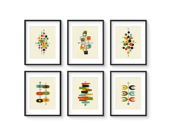 Collection of (6) Giclee Prints in 8x10 - 11x14 - 16x20 Format - Mid Century Modern Print Set