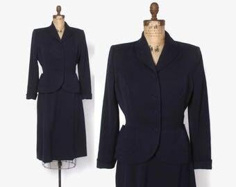 Vintage 40s SKIRT SUIT / Tailored 1940s Navy Blue Wool Blazer Jacket & Pencil Skirt S