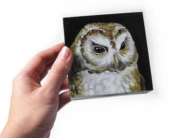 Tawny owl painting - realistic owl artwork original - woodland owl decor - woodland art - owl art block - owl gift