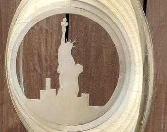 Goldtone Statue of Liberty Wind Spinner - USA - Yard Wind Spinner - Yard Art