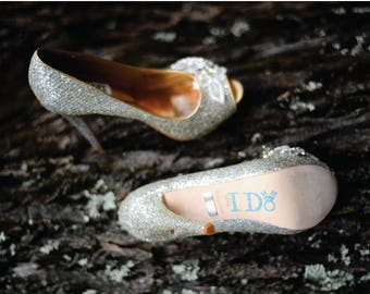 I DO Wedding Shoe Stickers in Blue with diamond ring
