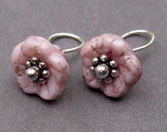 Interchangeable Earring Componenets, Flower Dangle Charms, Dusty Flower Czech Glass Bell Flower, Bracelet Charms with Daisy Spacers