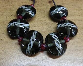 tuxedo lampwork bead set