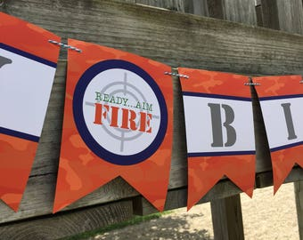Happy Birthday Banner --- Camo --- Dart Wars --- Printable INSTANT DOWNLOAD Banner by Beth Kruse Custom Creations