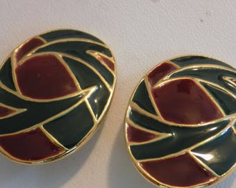 Vintage earrings, deep green and wine enamel leaf motif clip-on earrings
