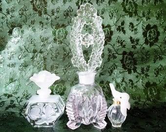 2 Ornate Crystal Perfume Bottles, Vintage ACC Taiwan & Art Deco + Bonus Mini L'Air du Temps