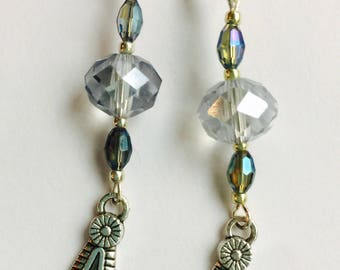 Dangle and drop crystal blue earrings
