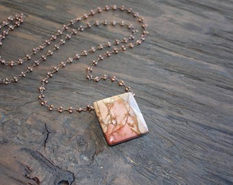 Long Picasso Jasper necklace on antique copper chain