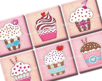 Cupcake Party 1x1 inch squares Printable Images. Digital Collage Sheet for magnets, cards, scrapbooks, invites. Download and print