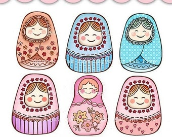 Digital Clip art Matrioshkas. Cute russian dolls clipart images for digital scrapbooking, invitations, cards. Baby clip art. Personal use