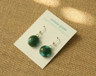 Sea Green Pop glass earrings - deep green glass studs with turquoise accent, petite earrings