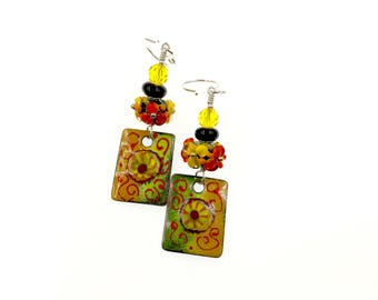 Colorful Earrings, Lampwork Earrings, Multicolor Enamel Earrings, Gift for Her, Flower Drop Earrings, Glass Bead Jewelry, Artisan Earrings