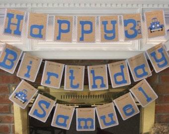 Little Blue Truck Birthday Banner
