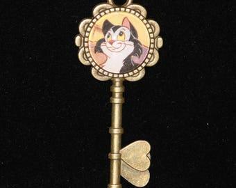 Disney Pinocchio Figaro Cat Gold Key Necklace
