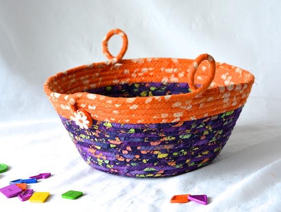 Halloween Decorative Basket, Handmade Rustic Fall Decoration, Purple and Orange Fiber Basket, Hand Coiled Fabric Basket