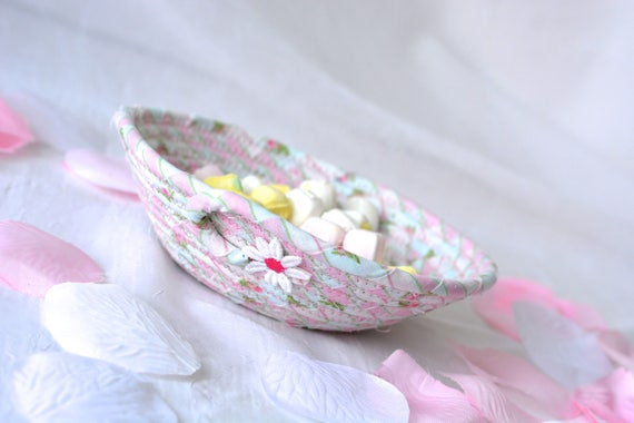 Pink Gift Basket, Cute Desk Accessory, Bling Ring Dish, Handmade Itty Bitty Basket, Key Holder, Shabby Chic Pink Basket