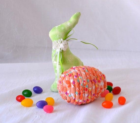 Orange Easter Egg Ornament, Handmade Orange Easter Egg Decoration, Easter Egg Hunt, Hand Coiled Fiber Easter Egg, Artisan Coiled