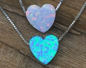 OPAL Heart Charm Sterling Silver Necklace - Your Choice of Heart Color and Necklace Length - Ships out in 1 Day !