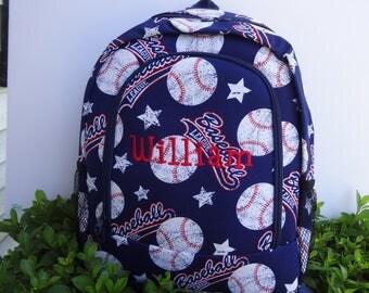 Personalized  Boys/Girls  Backpack,  BASEBALL Backpack, Baseball Book bag