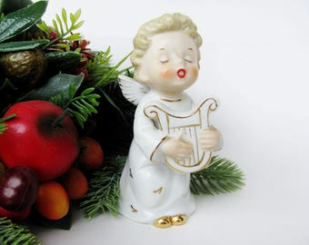 Wales Christmas Angel Figurine Playing Harp 4.75 Inches Tall Beautiful Condition With Sticker