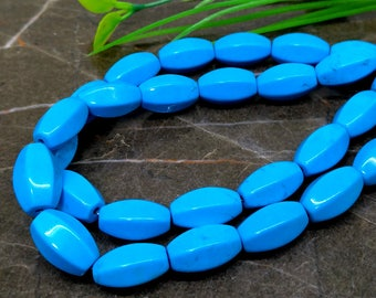 Natural Turquoise 14mm Smooth Barrel Gemstone Beads / Approx 14 pieces on 4 Inch long strand / JBC-ET-BSTQ002