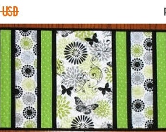 Sale Christmas in July Table Runner Floral, Butterfly, in greens, black and white, table runner quilted, handmade