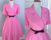 Vintage Sexy 1960s 1980s Pink Short Sleeve ATOMIC Full Skirt Day Shirt Sun Dress w Wrap Bodice