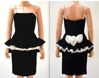 SALE Vintage 80s Prom Dress Black Velvet with Peplum Size Small// 80s Does 50s Black Velvet Party Cocktail Dress Small