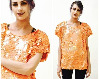 SALE Vintage Orange Sequin Shirt Metallic Sequin top Medium Large// Vintage Orange Metallic Sequin Top T shirt Medium Large
