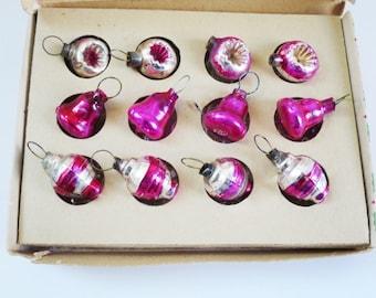 Vintage Miniature Mercury Glass Indent Ornaments, Mini Dollhouse Tree Ornaments, Half Inch Christmas Tree Ornaments, Tiny Micro Minis